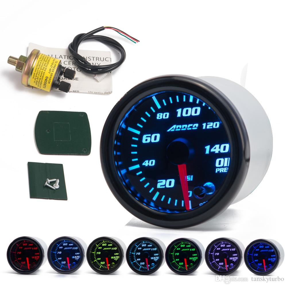 "2"" 52mm 7 Color LED Smoke Face Car Oil Press Gauge Auto Oil Pressure Meter With Sensor and Holder AD-GA52OILP"