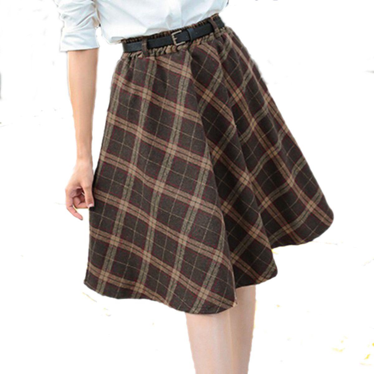 f7ed02db40 New Arrival Vintage Plaid Skirts Fashion 2015 Autumn&Winter Casual Pleated High  Waist Midi Women Knee-Length Belt Skirt 6 Colors