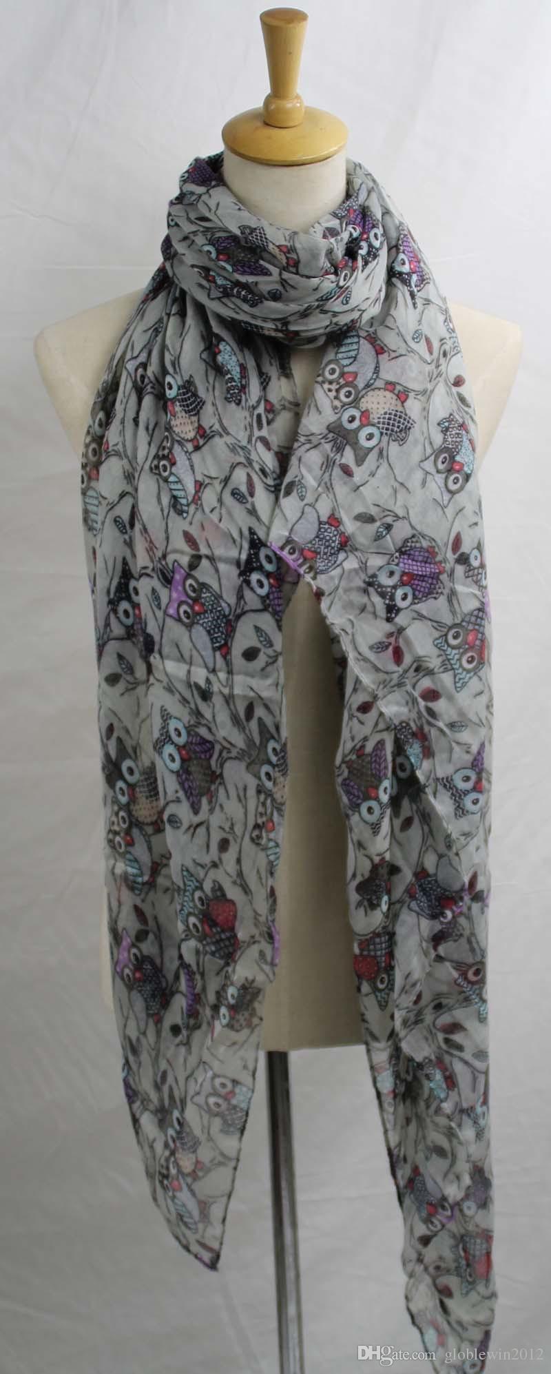Women Ladies Soft Long Fashion Owl Tree Print Pattern Shawl Scarf Scarves UK C/_