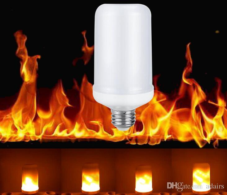 E27 E26 LED 2835 لهب النار تأثير ضوء لمبات 5W أضواء الإبداعية الخفقان مضاهاة خمر الغلاف الجوي ديكور مصباح