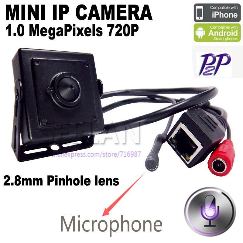 мини IP-камера IP мини-камера ONVIF 1.0 Мп HD-видео H. 264 P2P мобильный телефон наблюдения IP-камера видеонаблюдения 2.8 мм объектив pinhole hideen