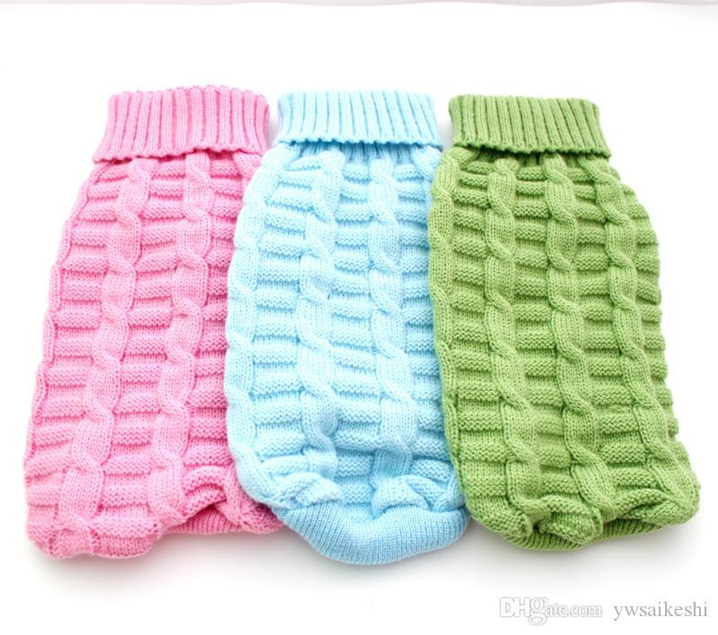 Pet Dog Sweter Kombinezon z kapturem Knitle Twist Design Cat Puppy Płaszcz Kurtka Zimowe Ciepłe Odzież Odzież
