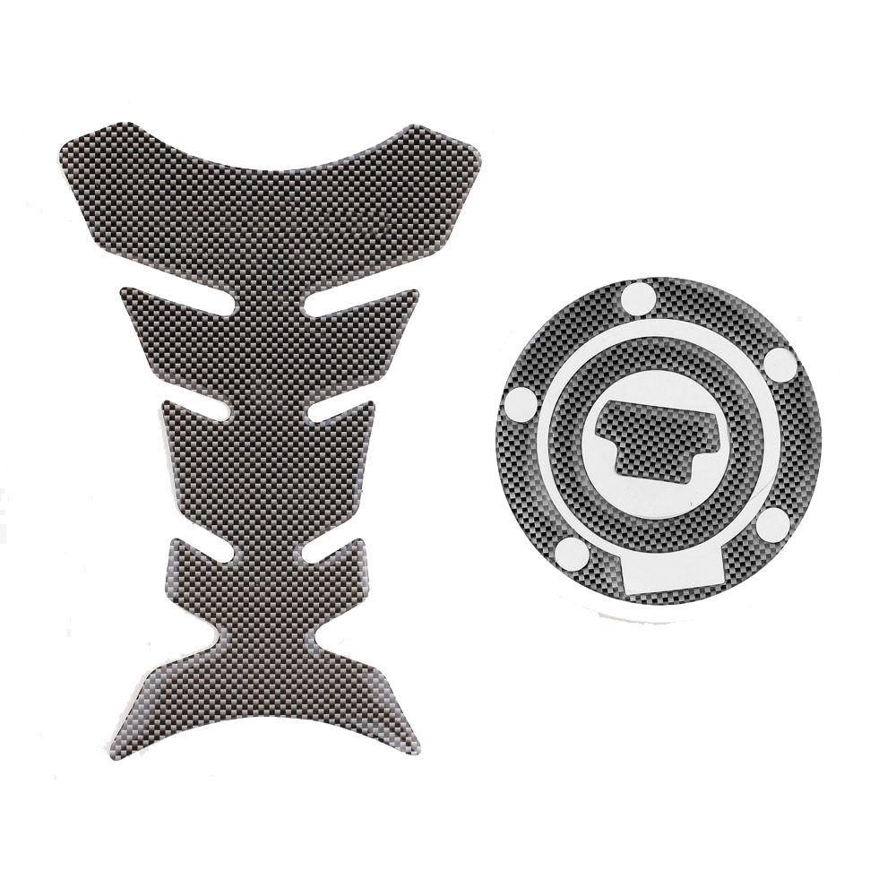 New Carbon-Look Fuel Tank Decal Pad + Gas Cap Pad Cover Sticker Case For Yamaha R6 R1 FZ-1 FJR1300