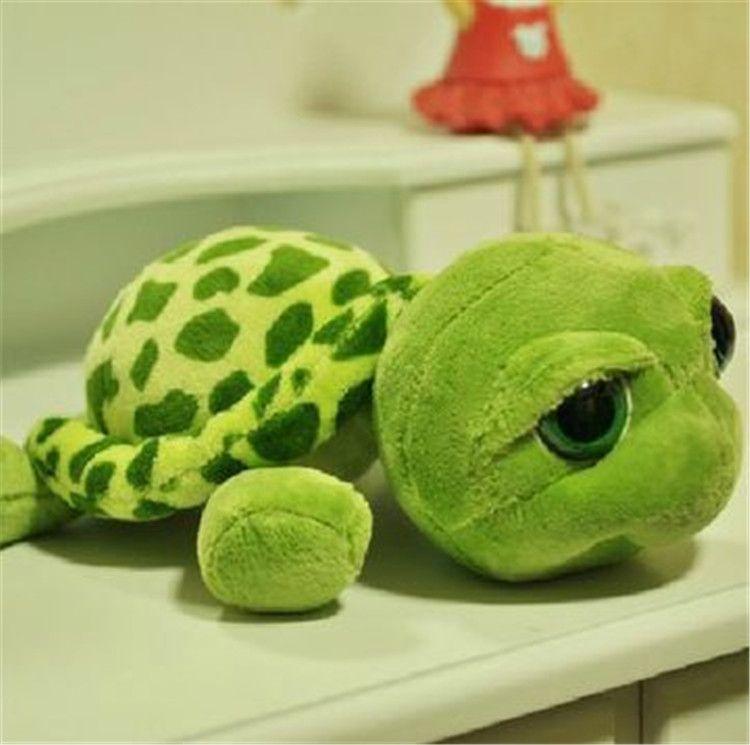 Pywee 20 cm de Peluche de Peluche de Dibujos Animados de Tortuga de Juguete Verde Ojos Grandes de Tortuga de Peluche Animal de Peluche de Regalo de Juguete de beb/é