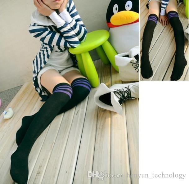 Seksi Kadınlar Kız Uyluk Yüksek AŞIRI DİZ Çorap Stripes Pamuk çorap 6 renk