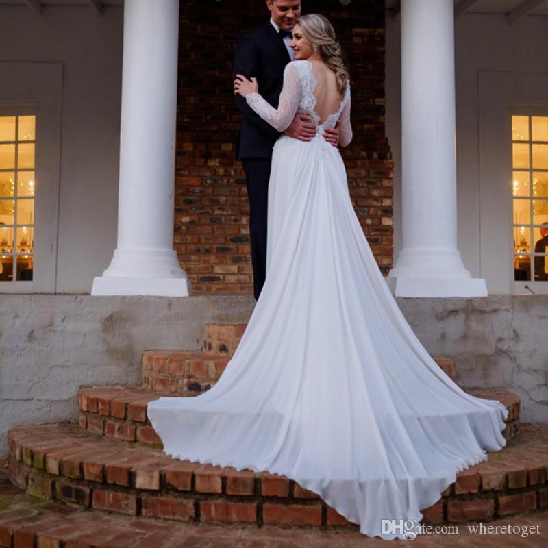 Boho Beach Wedding Dresses Long Sleeve A line Vintage Unique Lace Open Back 2019