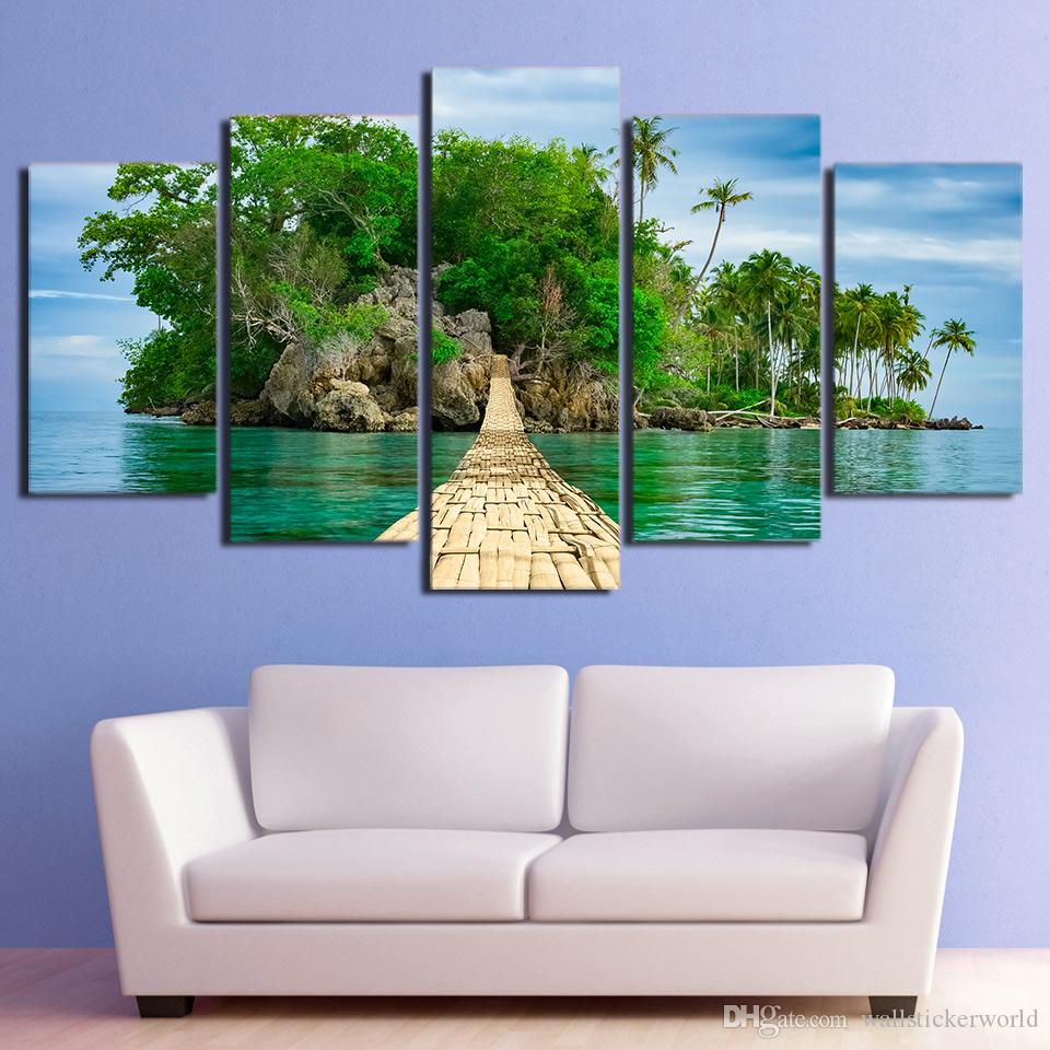 5 Pcs/Set HD Printed Green Island Wooden Bridge Wall Photo Canvas Print Poster Asian Modern Art Oil Paintings Pictures