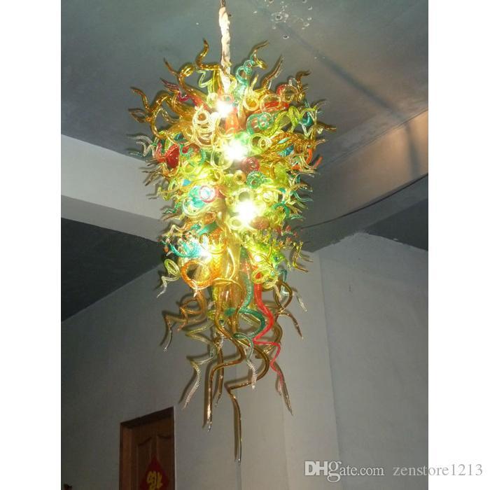 Big-Hotel-Dekor Hand geblasenem Glas Leuchter-Licht Moderne Kunst-Dekor-Murano-Glas LED-Lichtquelle Pendelleuchten Chihuly Stil Kronleuchter