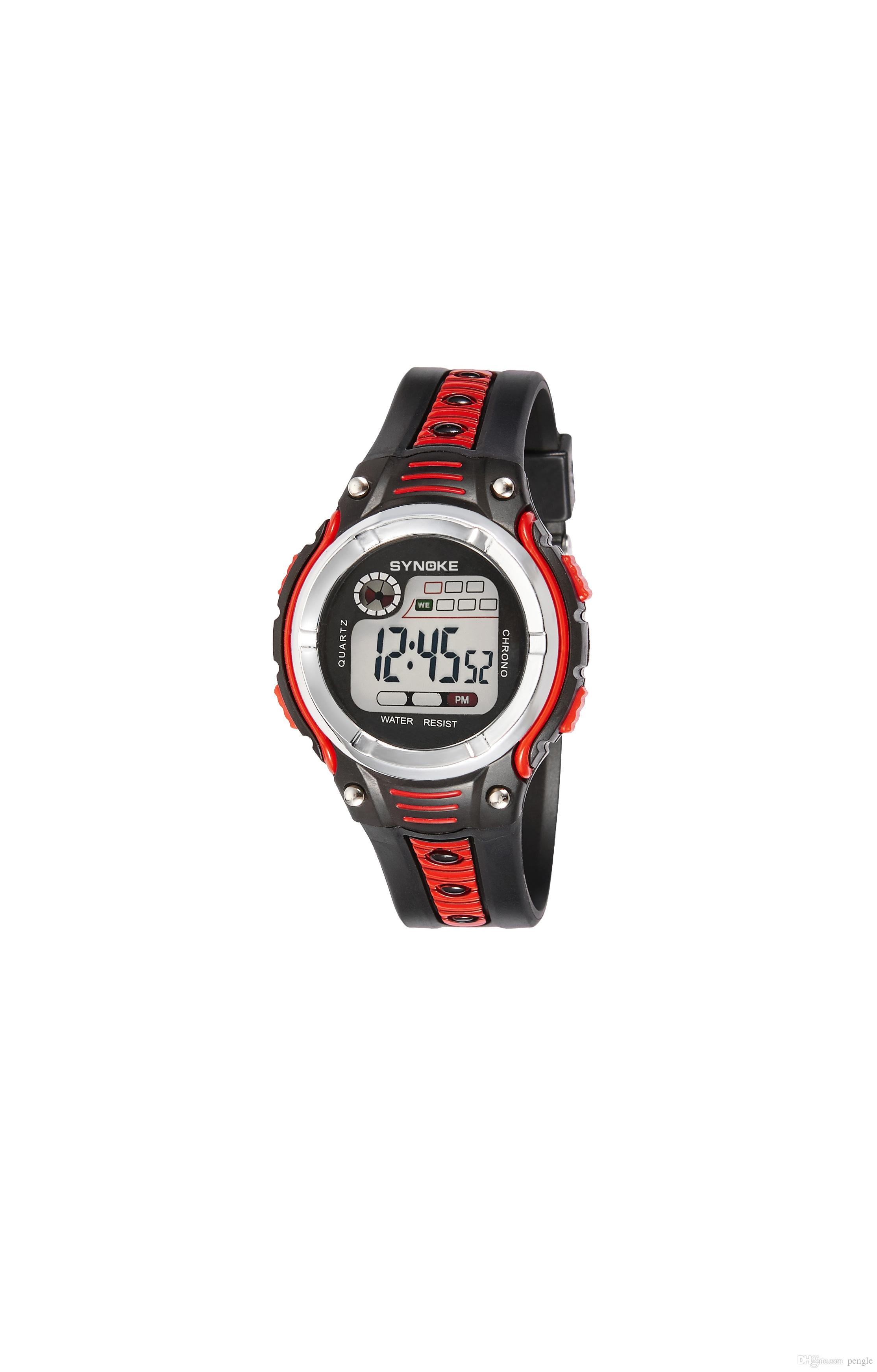 New Fashion Digital Watch 30m Waterproof Watch Colorful Luminous PU Wrist Watch Dual Colors Strap Drop Free Shipping