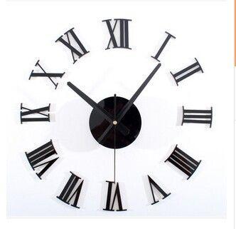 الكلاسيكية السوداء 3 د DIY الأرقام الرومانية ساعة الحائط مزيج من ساعة الحائط الإبداعية DIY