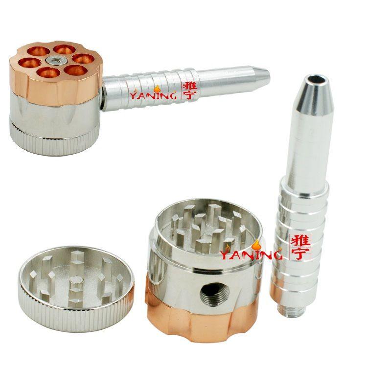 12pcs/lot BULLET ROTATING PIPE style tobacco grinder metal herb grinder Smoking Pipe+grinders [SKU:S018]