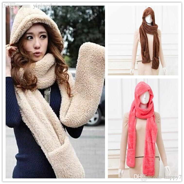 Wholesale-Autumn and winter thermal thickening hat scarf gloves piece set women's explaines millineryoutlets