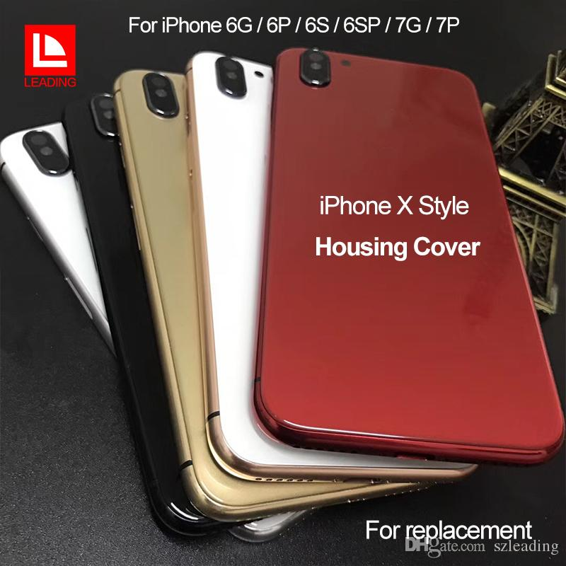 47b7f1adc95ac9 For iPhone 6 6P 6S 6SP 7 7P Plus Back Housing Cover Like iPhone X Style  Metal Glass Back Cover with Side Buttons
