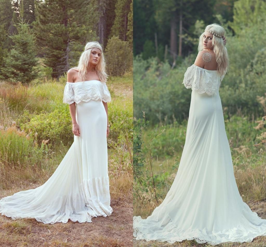 Discount Hot Sale Off The Shoulder Boho Wedding Dresses Short Sleeves Open Back Sweep Train A Line Chiffon And Applique Lace Beach Wedding Gowns 2015