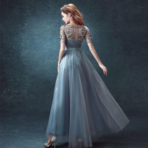 Steel Blue Prom Dresses Short Sleeves Sheer Neckline Sequins Real ...