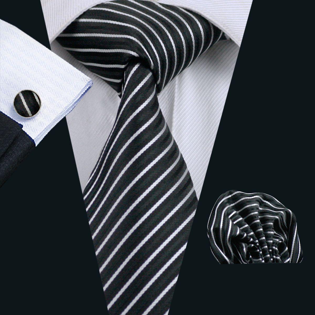 العمل الرسمي رجال شرطة الأمن موظفي أسود أبيض شريط التعادل مجموعة المنديل cufflinks الجاكار المنسوجة الساخن بيع الرقبة التعادل مجموعة N-0394