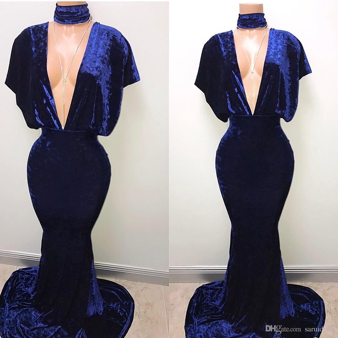 Royal Blue Velvet Mermaid Prom Kleider Lange tiefe V-Ausschnitt Dichter Ärmeln Sexy Formale Party Kleider Abendkleid