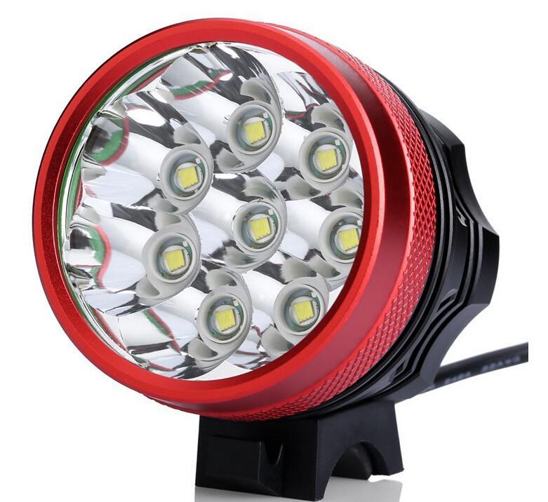 ROUGE Couleur 7T6 Vélo Lumière / 7 * Cree XM-L T6 3 Modes Lumière Avant 10000LM Vélo Avec Batterie et Chargeur