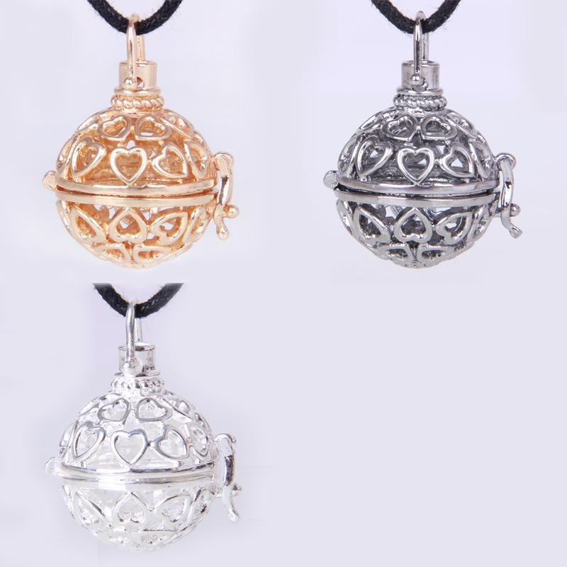 2015 Maternity Jewelry 3 colors Copper Matal Pendants With Angel ball in Chain Necklaces Hearts Design