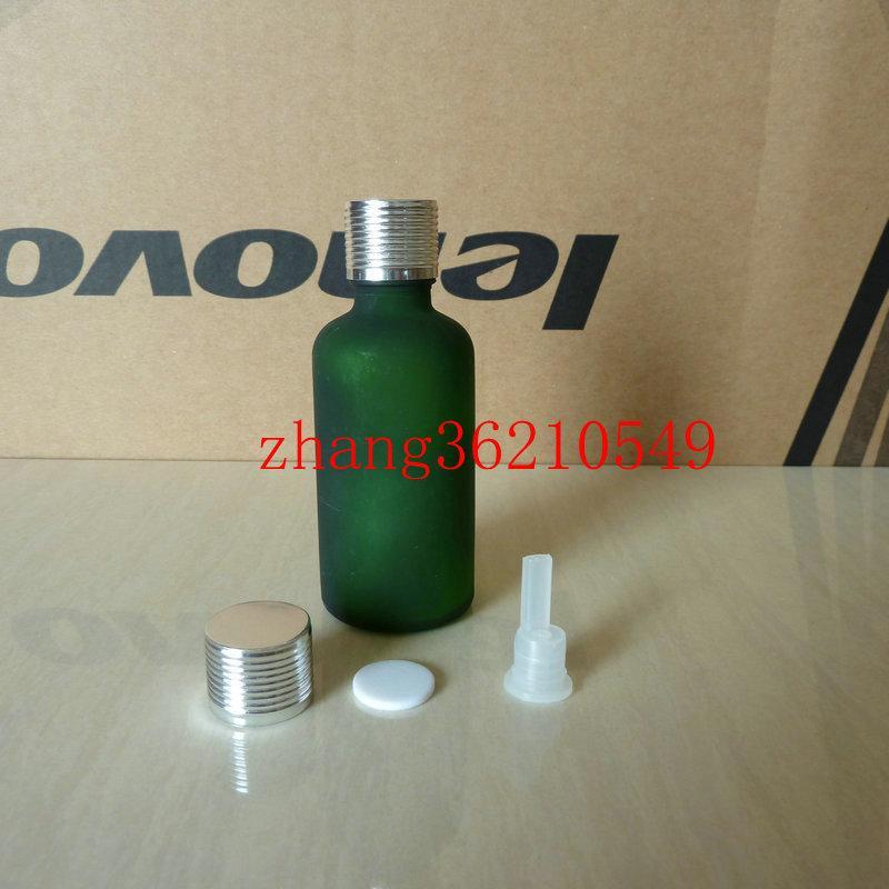 50ml 초록색 젖빛 유리 에센셜 오일 병 반짝이 은색 알루미늄 캡. 오일 바이알, 에센셜 오일 용기