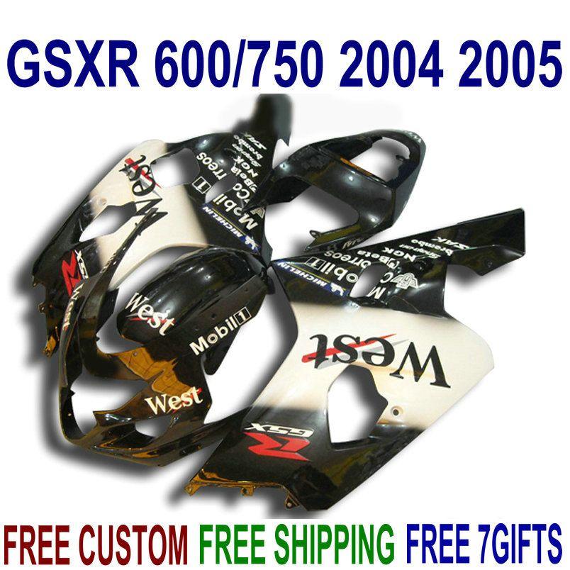 Kit de carenagem para SUZUKI GSXR600 GSXR750 2004 2005 K4 bodykits GSX-R 600/750 04 05 branco preto Carenagens ocidentais QE4