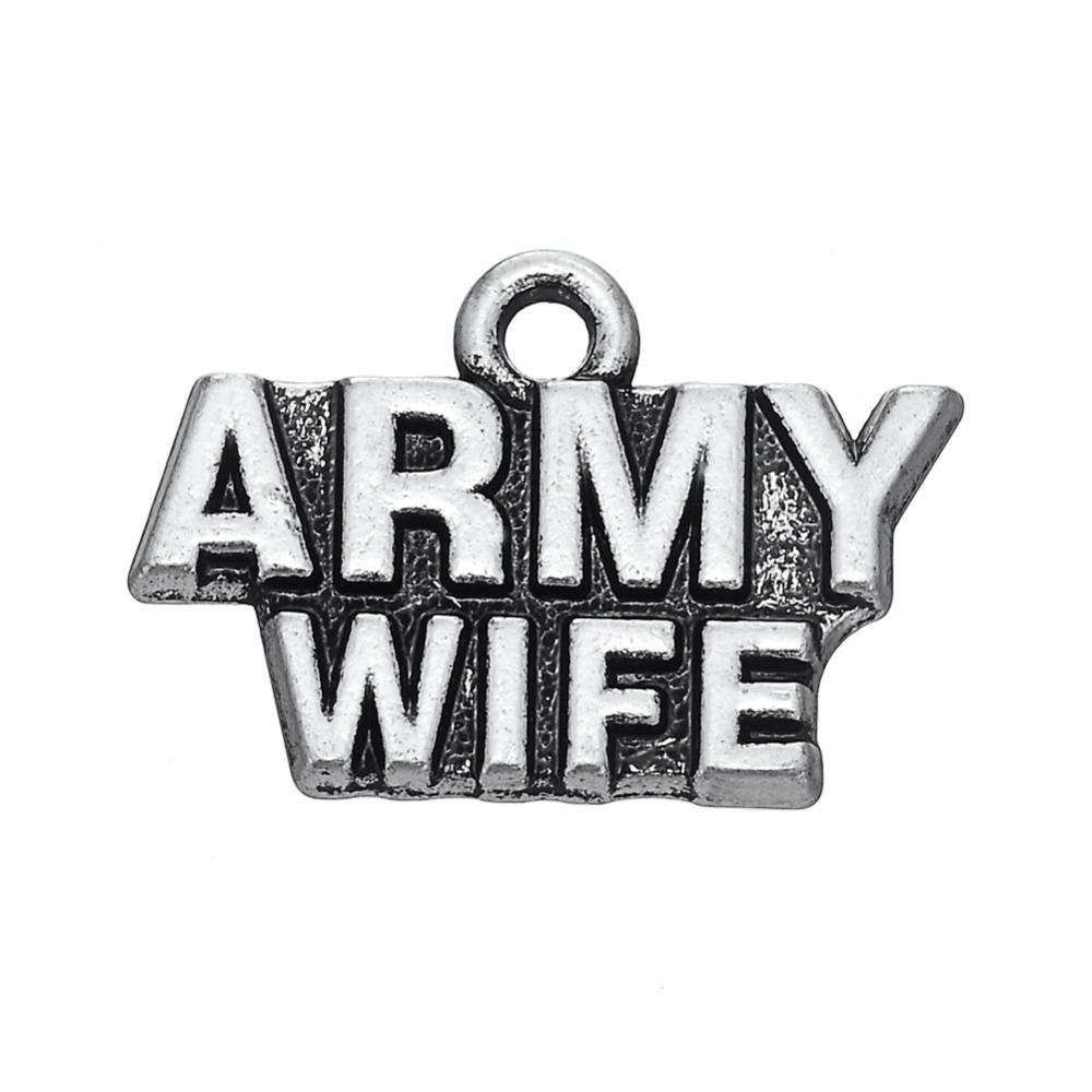 무료 배송 새로운 패션 diy 20pcs 쉽게 편지 육군 부인의 매력 액세서리 매력 보석 목걸이 또는 b에 맞게 만드는 만들기위한