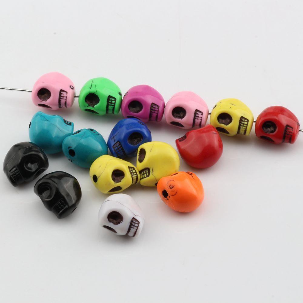 Caldo ! 200pcs miscela di colore acrilico Skull distanziatore bordano 12MM misura il braccialetto di perline Gioielli fai da te