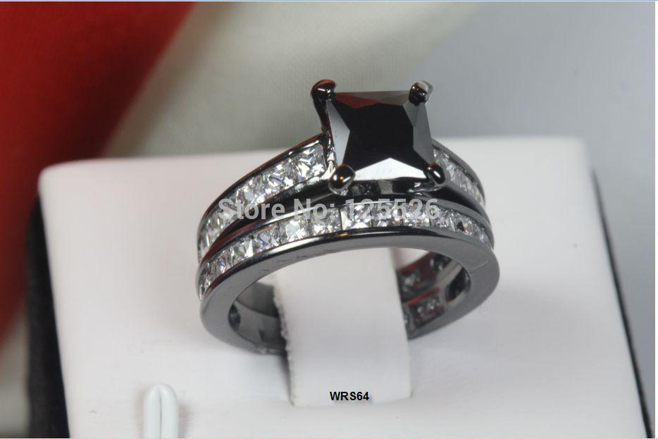 001 Ring Wieck Set jewelry Band Design Brand Diamond 10KT Black Filled shipping Simulaed Gold Vintage Free 5-11 Sz Victoria Riitw