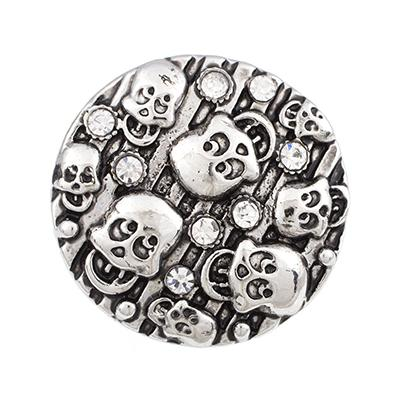 NSB2127 Hot Sale Metal Snap Buttons Jewelry Buttons Fit 18mm Snap Bracelet Necklace Fashion DIY Charms Vintage Skull Snaps
