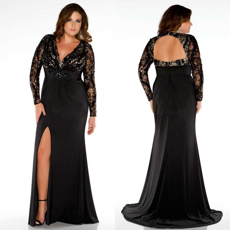 Chic Lace Plus Size Backless Evening Dresses With Long Sleeves Mermaid Prom  Gowns Sweep Train Split Side Evening Dress With Beads Sash Plus Size Urban  ...