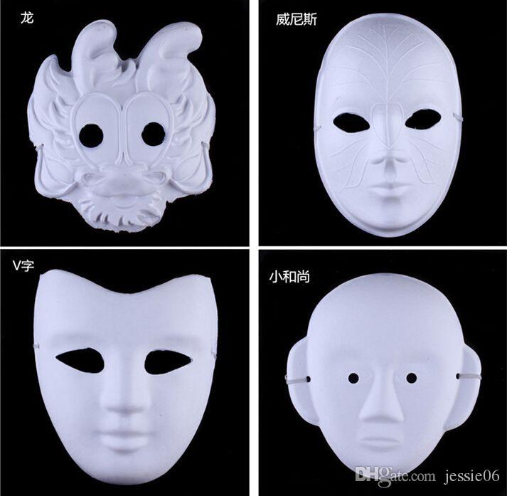 White Half Face Mask Halloween blank paper ball Hand painted Mask DIY pulp Hip-Hop mask Hand-painted masks street dancing Christmas gifts