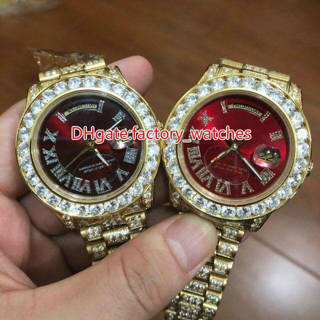 Montre de marque de luxe pour hommes Grand lunette sertie de diamants 40mm au poignet rappeurs de hip hop complètement glacé boîtier en or cadran rouge montre automatique