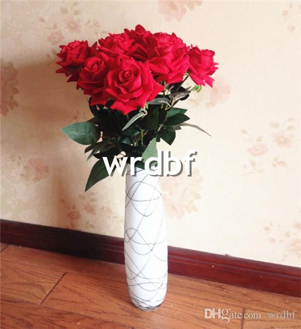 """Hot 12st 65cm / 25.59 """"Längd Konstgjorda blommor Simulering Flannel Roses Singel Curling Rose Heminredning Bröllopsblomma"""