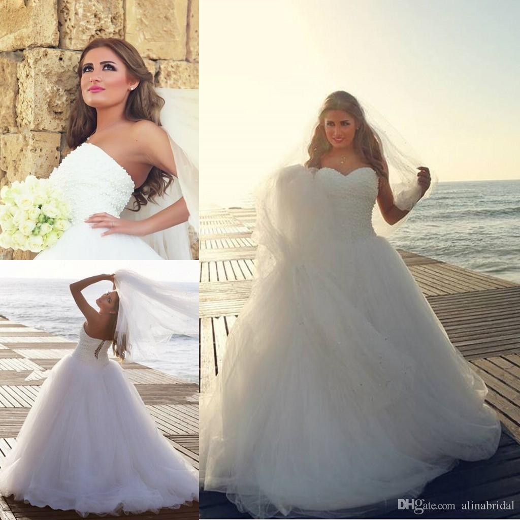 Baljurk Parel Kralen Trouwjurken 2016 Sweetheart Sheer Tule Vloer Lengte Corset Arabische Dubai Vestidos de Novia Vintage Bruidsjurken