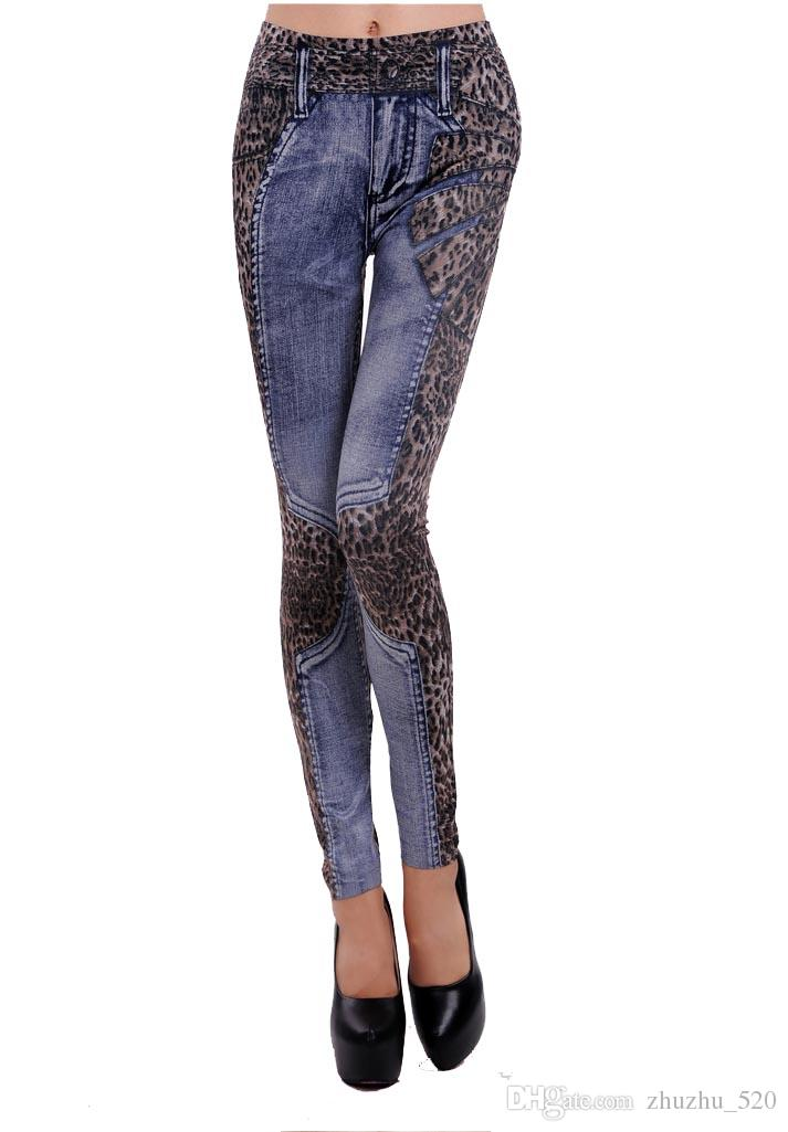 Leopard Printed Nine Leggings for Plus Size Jeggings with Soft Womens Leggings