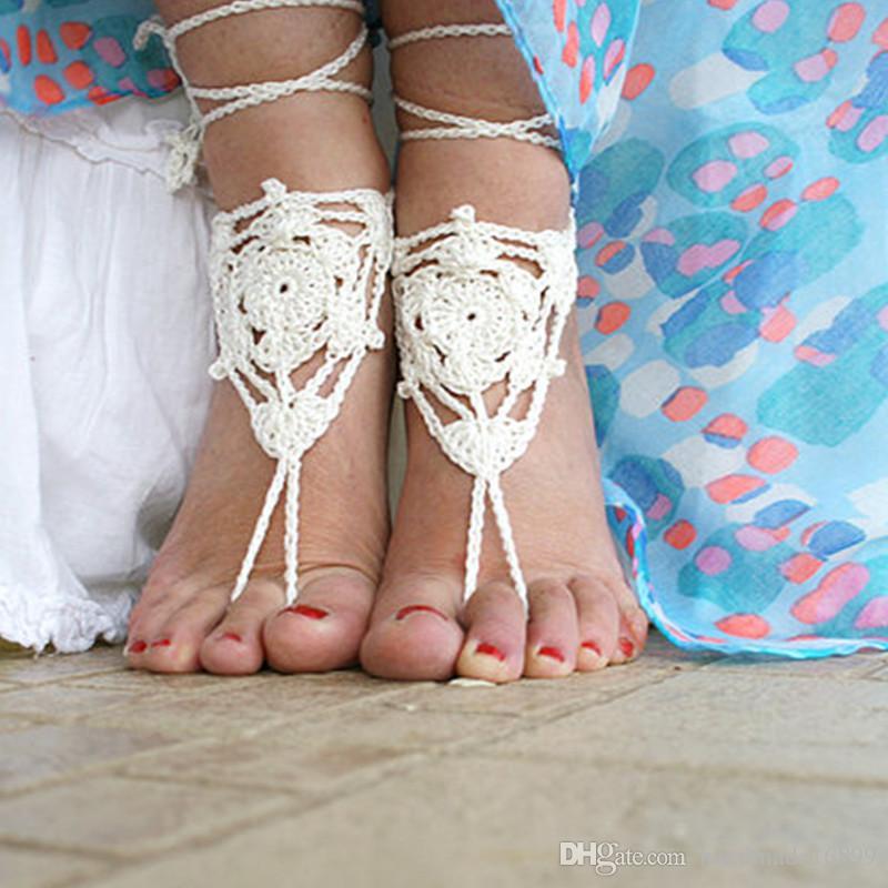 Hochzeit am Strand, häkeln barfuss Sandalen, Strand Hochzeit barfuss Sandalen, barfuss Sandalen, nackten Fuß Sandalen, Spitzen häkeln, sexy Fuß