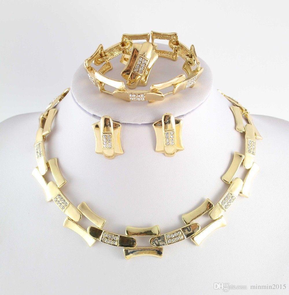 Dubai Afrikanisches 18k Gold überzogene mysteriöse reizend Halsketten-Armband-Ohrring-Art- und Weise romantische won Frauen, die Brautkostüm-Schmucksache-Sätze heiraten