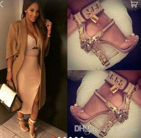 Luxury Rhinestone Spiked Chunky Heel Sandals Hollywood Fashion Lock Buckle Peep Toe High Heel Sandals Summer Shoes Women