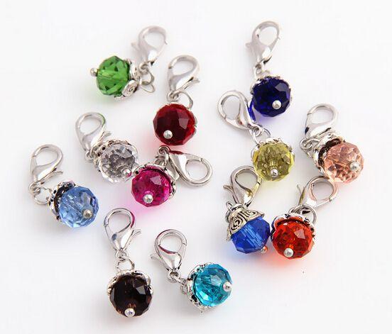 20pcs / lot Mix Colors Crystal Birthstone Birthstone Dangles Birthday Stone Pendente Charms Perline con chiusura aragosta adatta per medaglione galleggiante