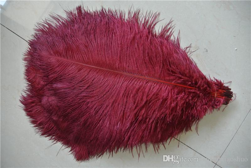 Free Shipping burgundy Ostrich Feather plume 14-16inch wedding Centerpieces Wedding Decoration party supplies event supply decor crafts