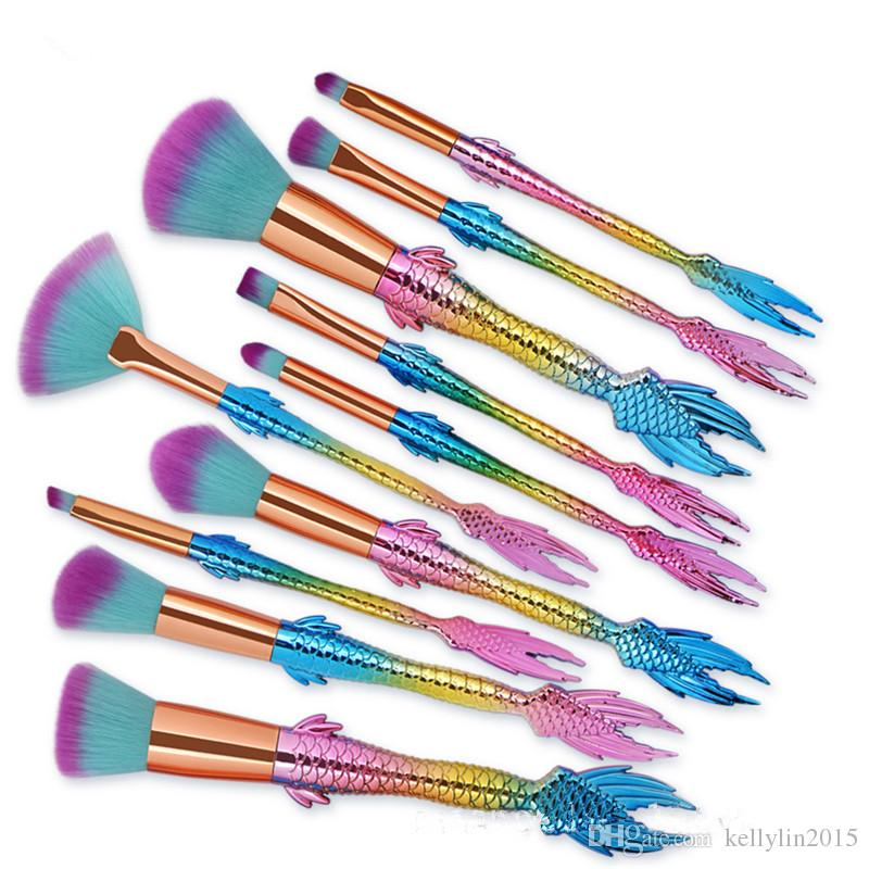 Mermaid Makeup Brush Set 5 10pcs Professional Foundation Eyeshadow Powder Contour Cosmetic Beauty Tools Rainbow Make Up Brushes Kit