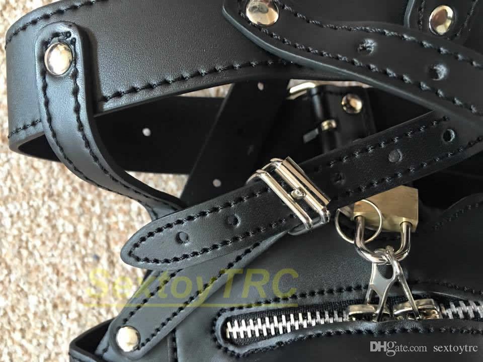 Feminino Design Bondage Hood Máscara Novo Focinho Freio Jogar Macho Lock PU Cabeça Para Fetiche New Leather Design Zipper BDSM Traje Kjcow