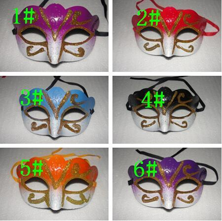 Mix 6 cores Máscara Do Partido Com Máscara de Ouro Glitter Venetian Unisex Sparkle Masquerade feriado Máscara 12 pcs