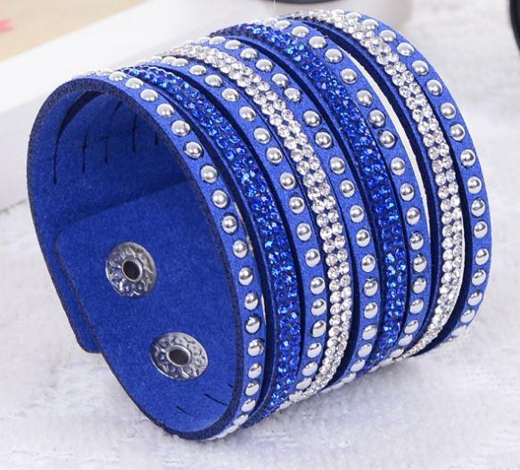2015 новая мода многослойные Wrap браслеты Slake Deluxe кожаные браслеты для женщин с кристаллами пара ювелирных изделий Шарм браслеты 10 цветов