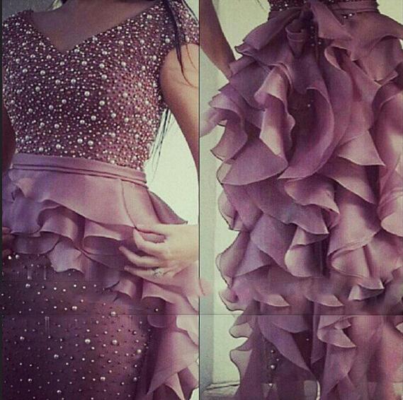 2015 Prom Dresses V Neck Beading/Pearls Short Sleeve Organza Ruffle Sheath Floor-Length Evening Dresses Dhyz 01