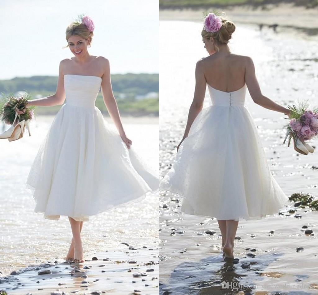 Pequeño vestido de boda blanco Alta calidad longitud té sin tirantes pliegues de organza vestido de recepción blanca pura playa vestidos de novia más tamaño