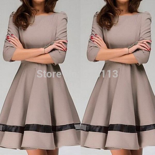 Yeni varış 2015 sonbahar yeni kadın bayan moda elbise düz renk yuvarlak boyun pilili elbise uzun kollu slim fit iş elbisesi
