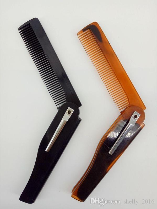 Portable Folding Moustache Beard Knife Comb Hair Brushes Plastic Hair Brush Combs for Men Hair Care Tools