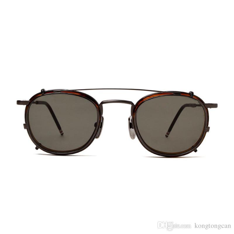 selezione premium 8bf7f a8020 Vintage Fashion Sunglasses With Clips Thom Browne TB 710MT Women Man Brand  Design Round Original Box Case HD Lens Top Quality Designer Glasses ...