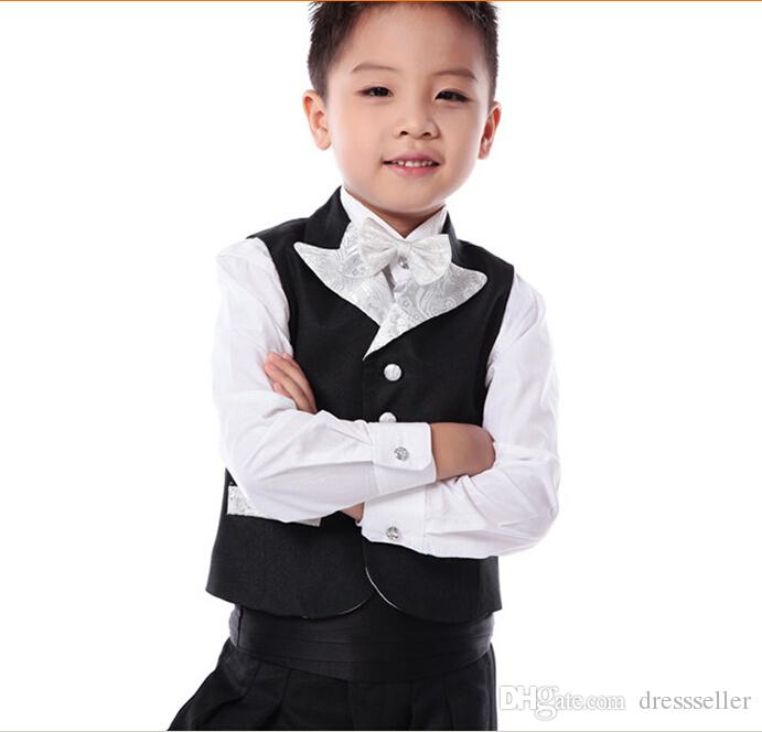 Cheap In Stock 2015 Black Boys Wedding Suits Prince Baby Boy Suits